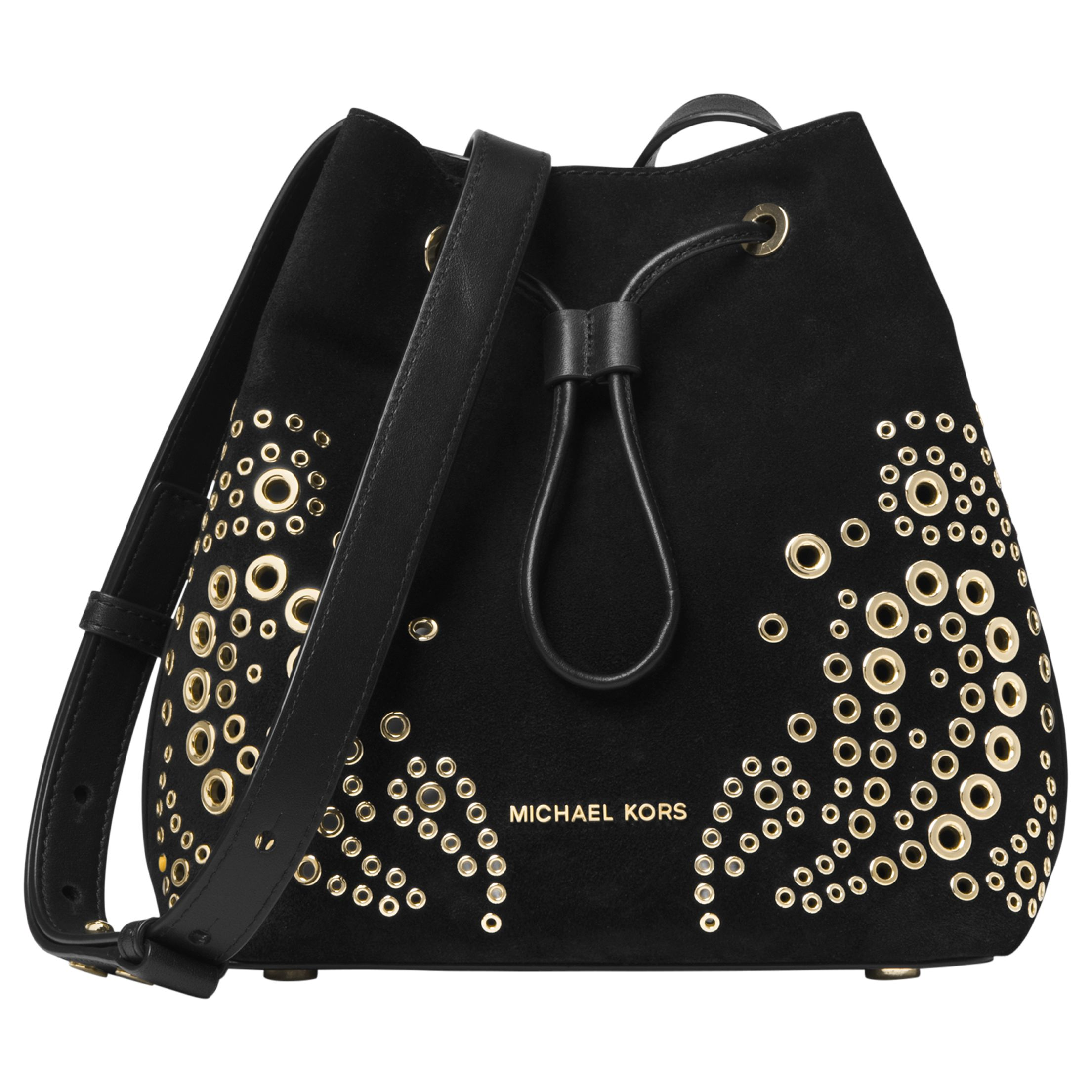 f3e799e8a22a MICHAEL Michael Kors Cary Small Eyelet Leather Bucket Bag, Black at John  Lewis & Partners
