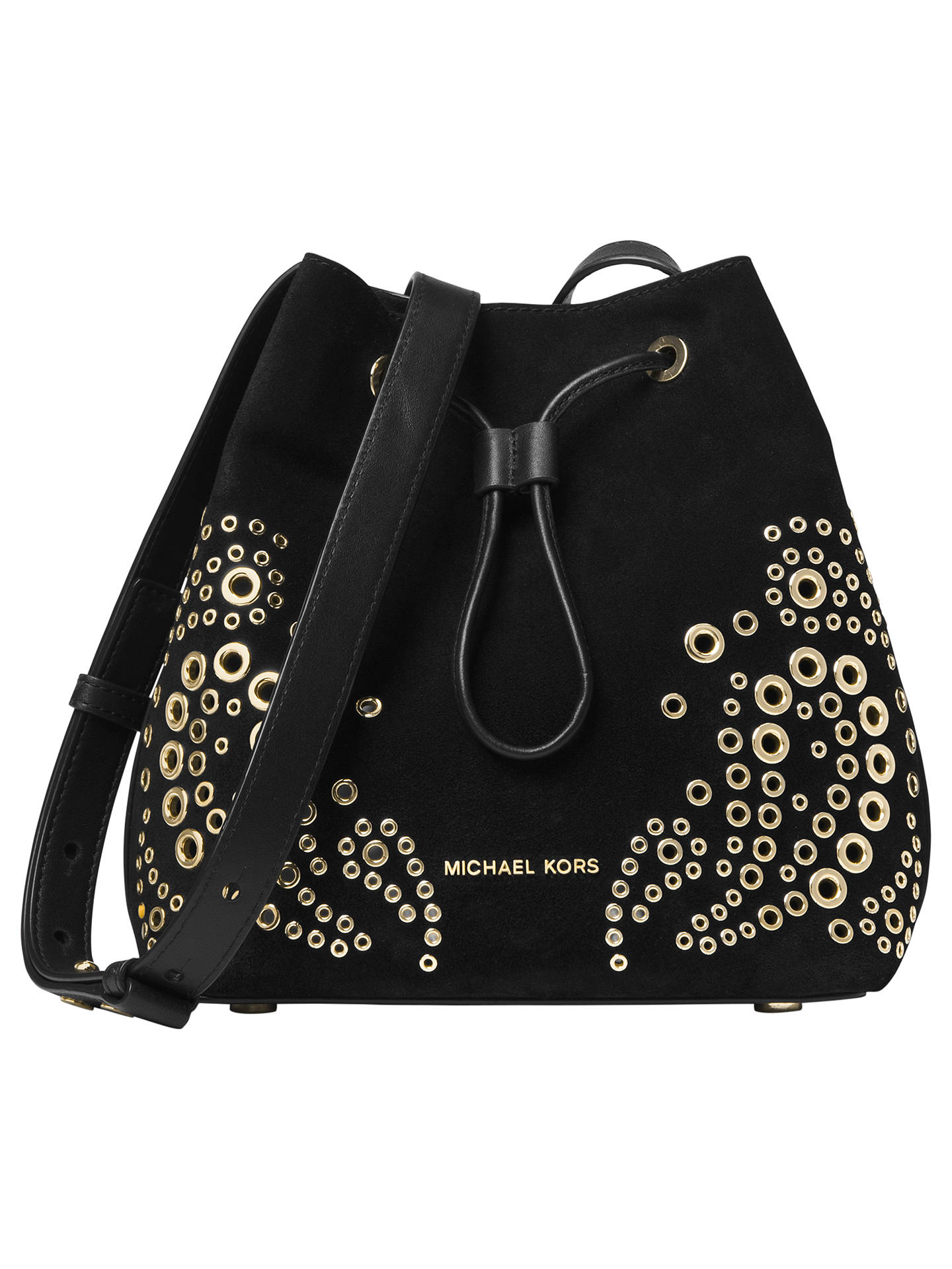 35f8a92dd098 Buy MICHAEL Michael Kors Cary Small Eyelet Leather Bucket Bag, Black Online  at johnlewis.