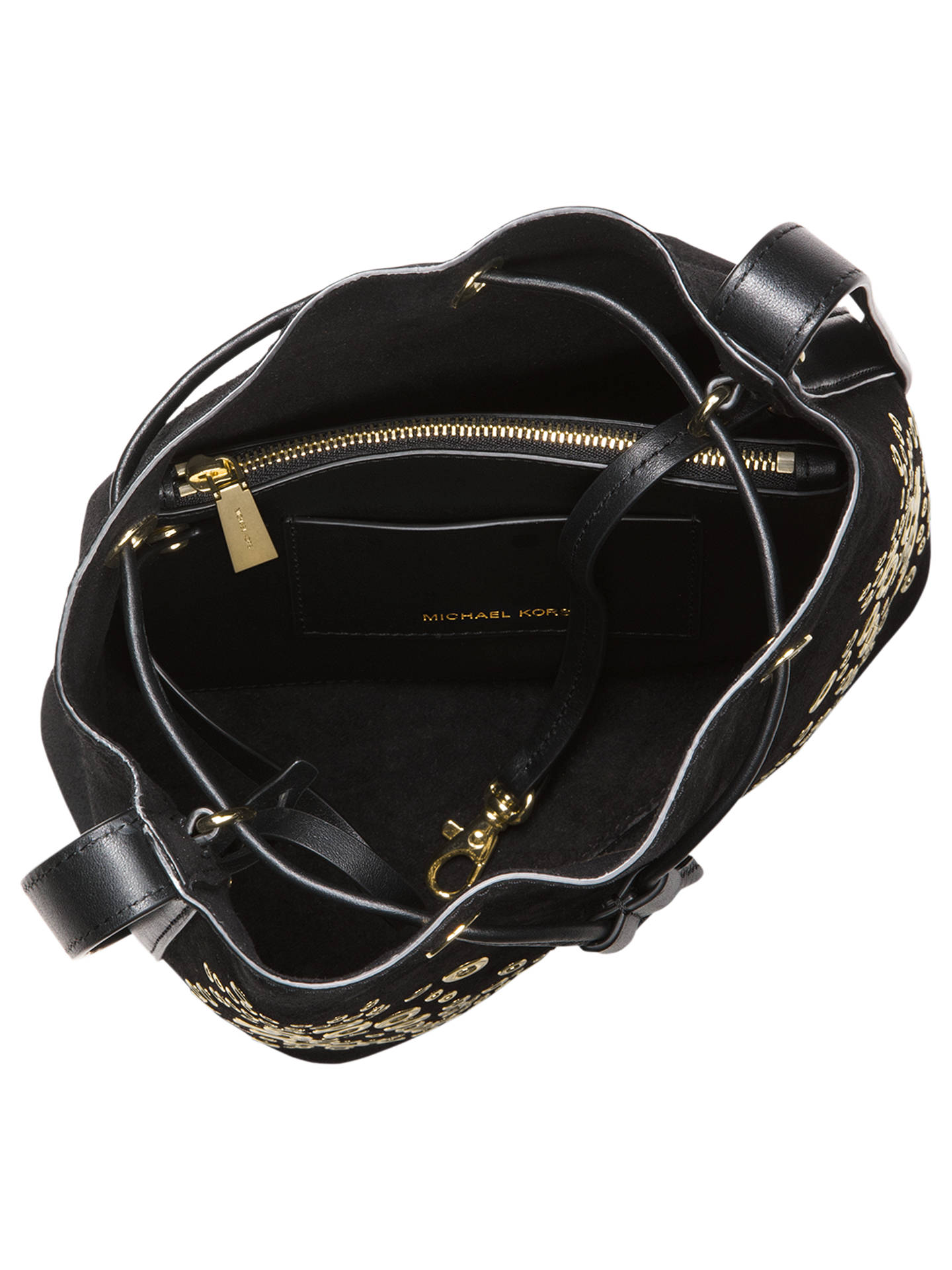 b781d22a60c3 Buy MICHAEL Michael Kors Cary Small Eyelet Leather Bucket Bag, Black Online  at johnlewis.