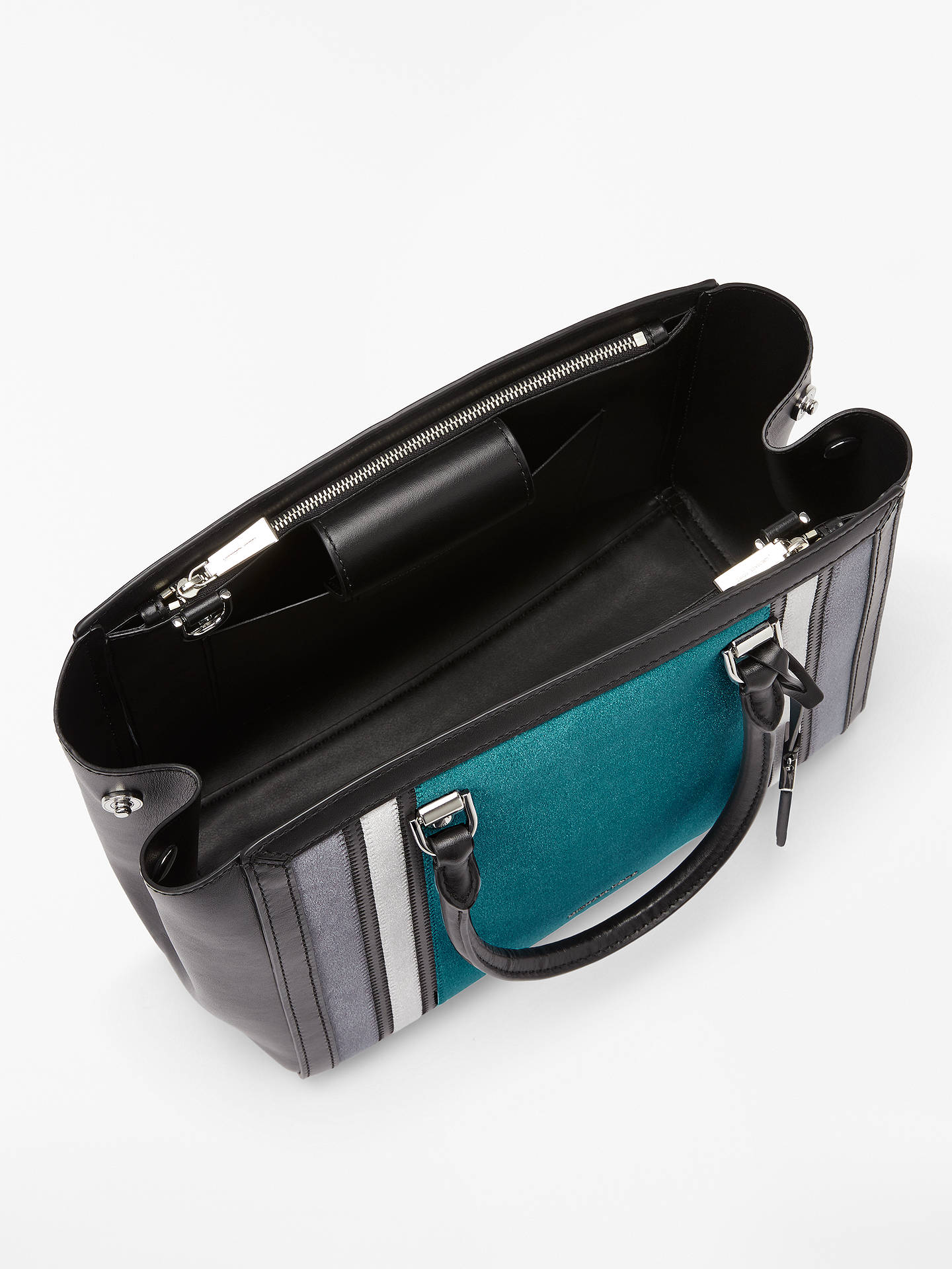 aa432c37a Buy MICHAEL Michael Kors Benning Large Leather Satchel, Teal/Charcoal  Online at johnlewis.