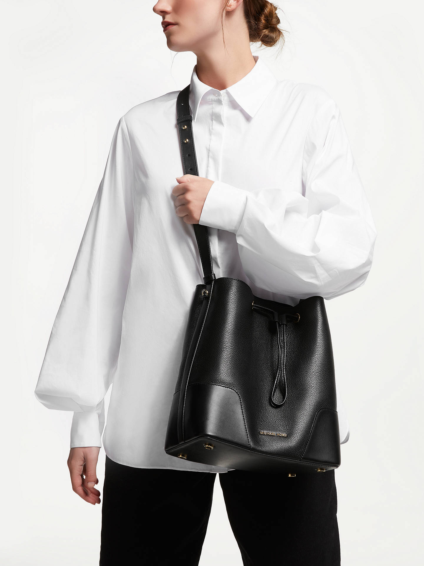 2c594d534ebb ... Buy MICHAEL Michael Kors Cary Medium Leather Bucket Bag, Black Online  at johnlewis.com ...