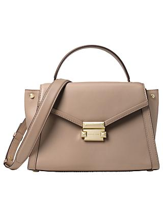Michael Kors Whitney Medium Leather Satchel Bag Truffle