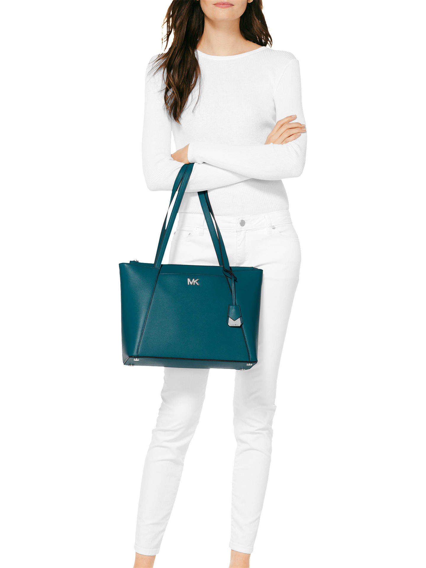 bb91ade90b7da2 ... Buy MICHAEL Michael Kors Maddie East West Medium Leather Tote Bag, Luxe  Teal Online at