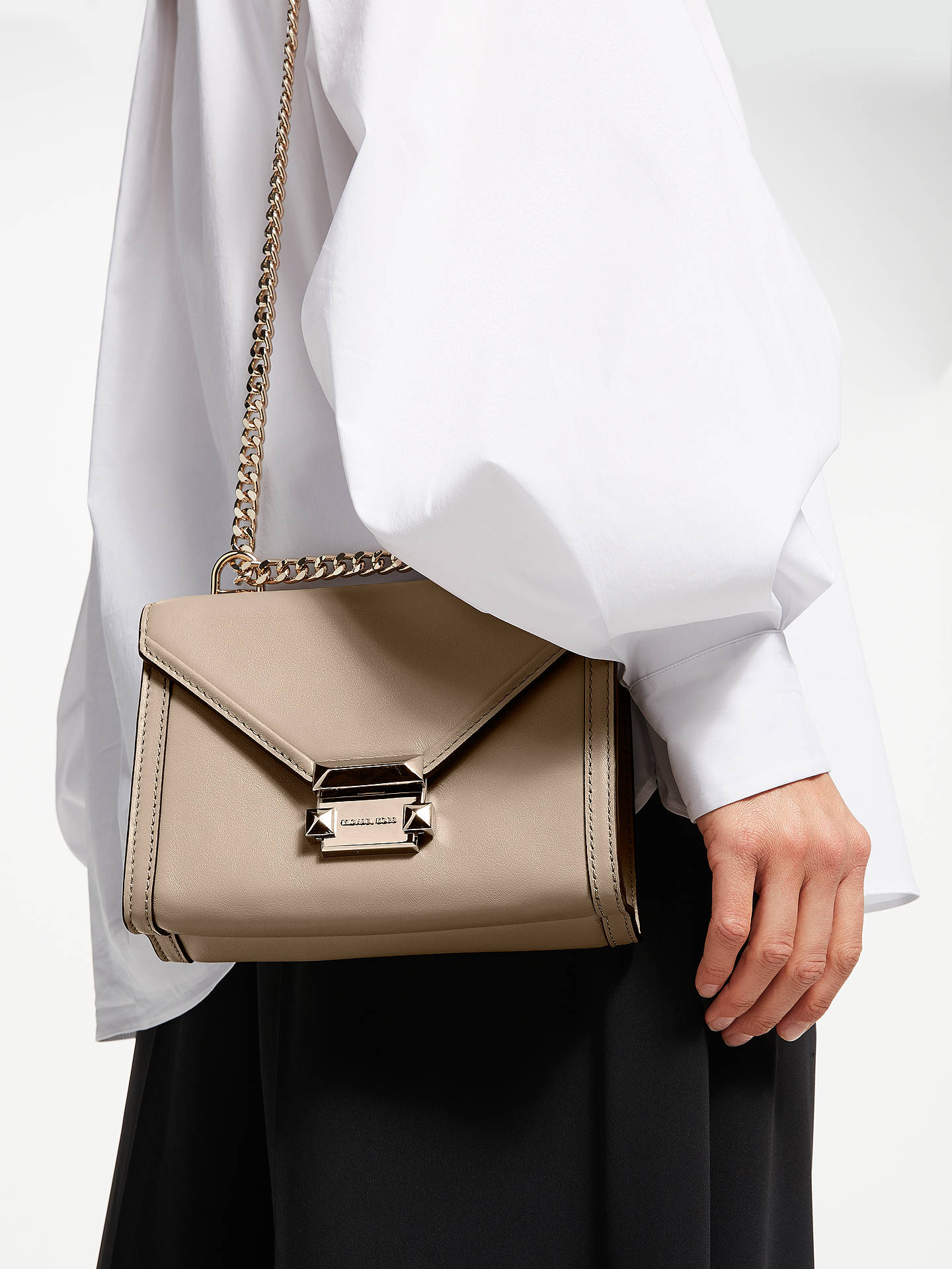 c11af38d7907bc ... Buy MICHAEL Michael Kors Whitney Small Leather Shoulder Bag, Truffle  Online at johnlewis.com