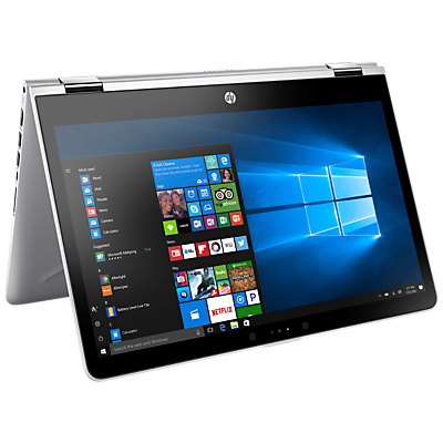 "Image of HP Pavilion x360 14-ba000na Convertible Laptop, Intel Pentium, 4GB RAM, 128GB SSD, 14"", Silver"