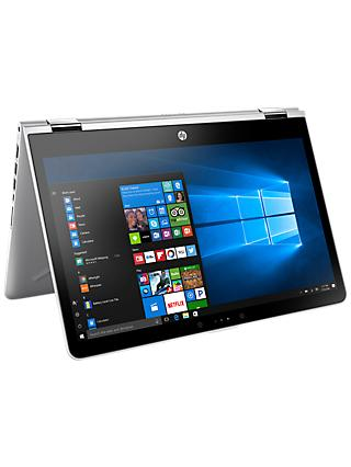 "HP Pavilion x360 14-ba007na Convertible Laptop, Intel Core i3, 8GB RAM, 128GB SSD, 14"", Silver"