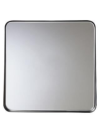 House by John Lewis Round Corner Square Mirror, Black, 36 x 36cm