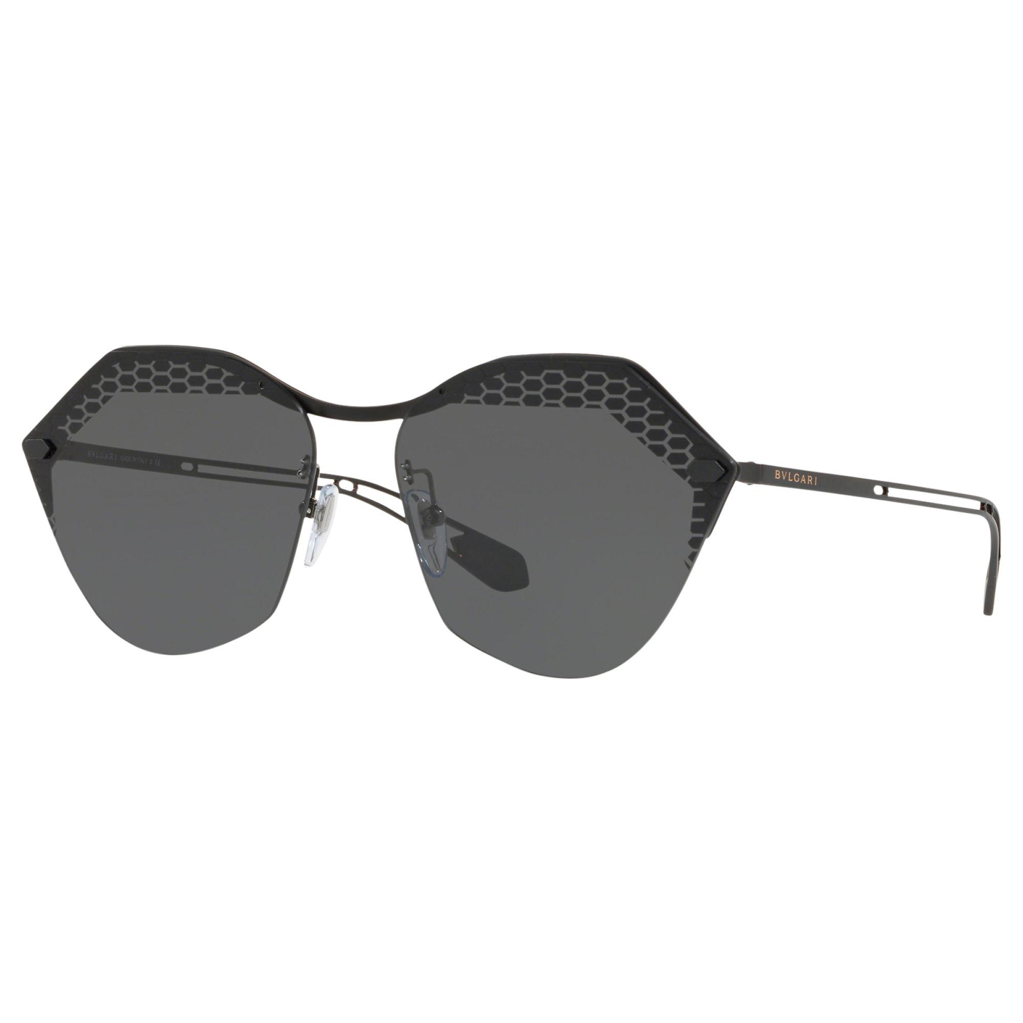 Bvlgari BVLGARI BV6109 Women's Irregular Sunglasses, Matte Black/Grey