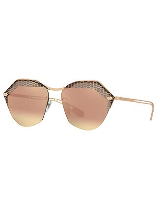 BVLGARI BV6109 Women's Irregular Sunglasses, Gold/Mirror Pink