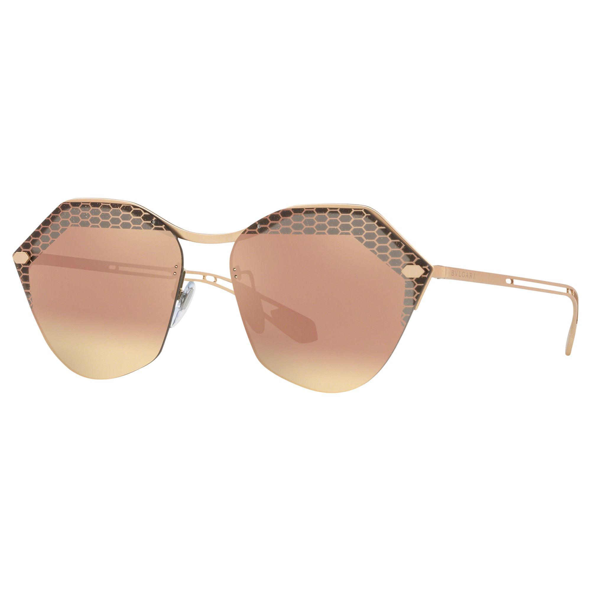 Bvlgari BVLGARI BV6109 Women's Irregular Sunglasses, Gold/Mirror Pink