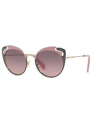 Miu Miu MU 57TS Women's Cat's Eye Sunglasses, Gold/Pink Gradient