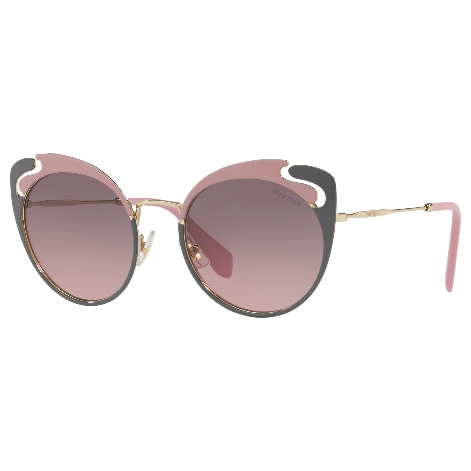Miu Miu Miu Miu MU 57TS Women's Cat's Eye Sunglasses, Gold/Pink Gradient