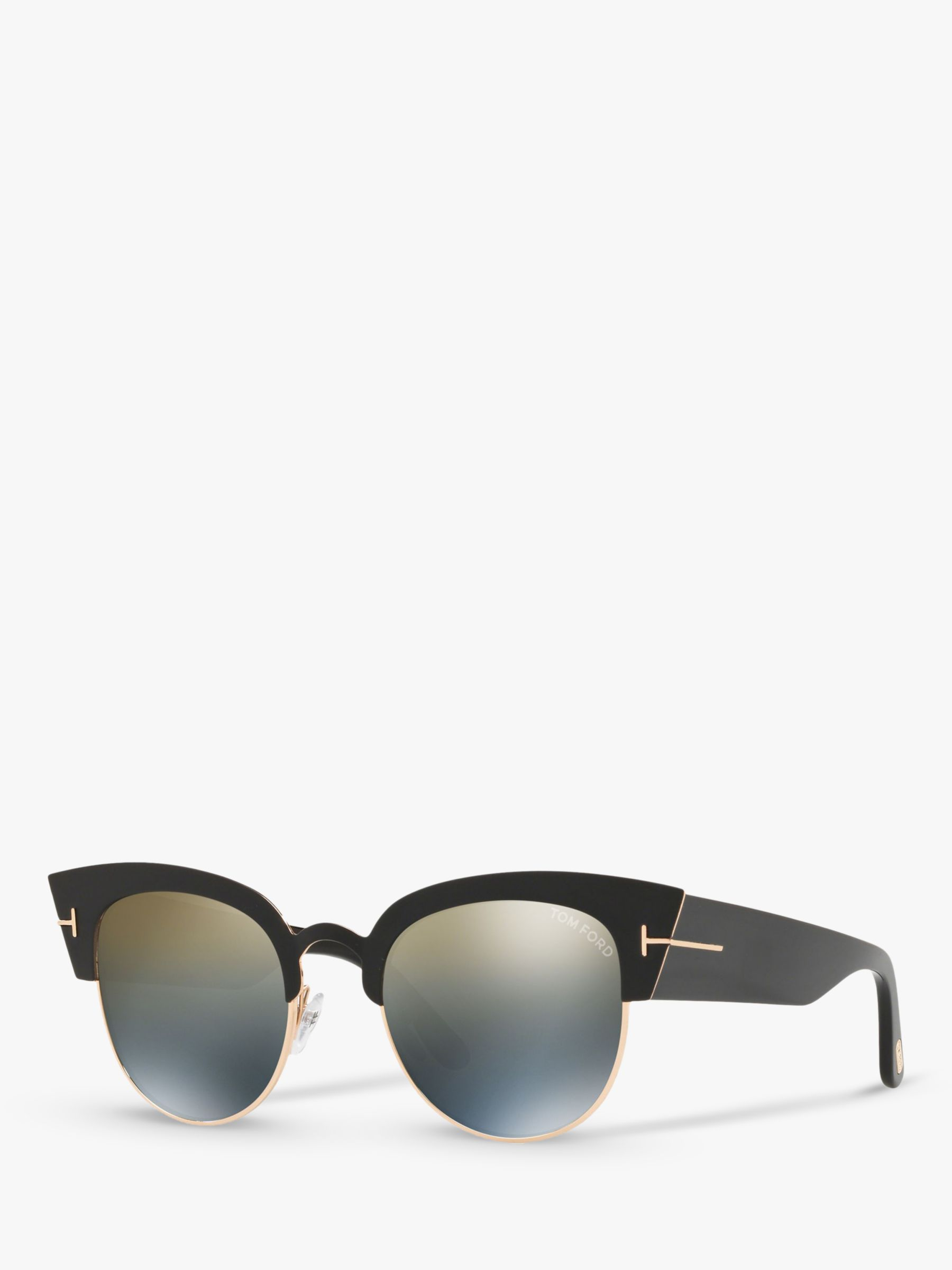 Tom Ford TOM FORD FT0607 Women's Alexandra Cat's Eye Sunglasses, Black/Mirror Grey