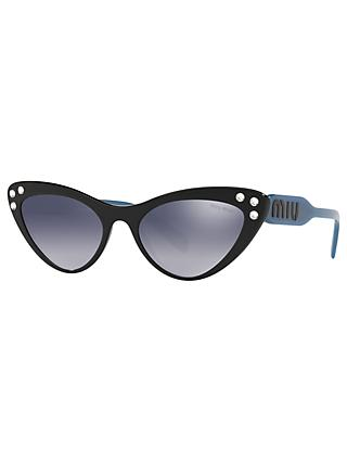 Miu Miu MU 05TS Women's Stud Cat's Eye Sunglasses, Black/Mirror Grey