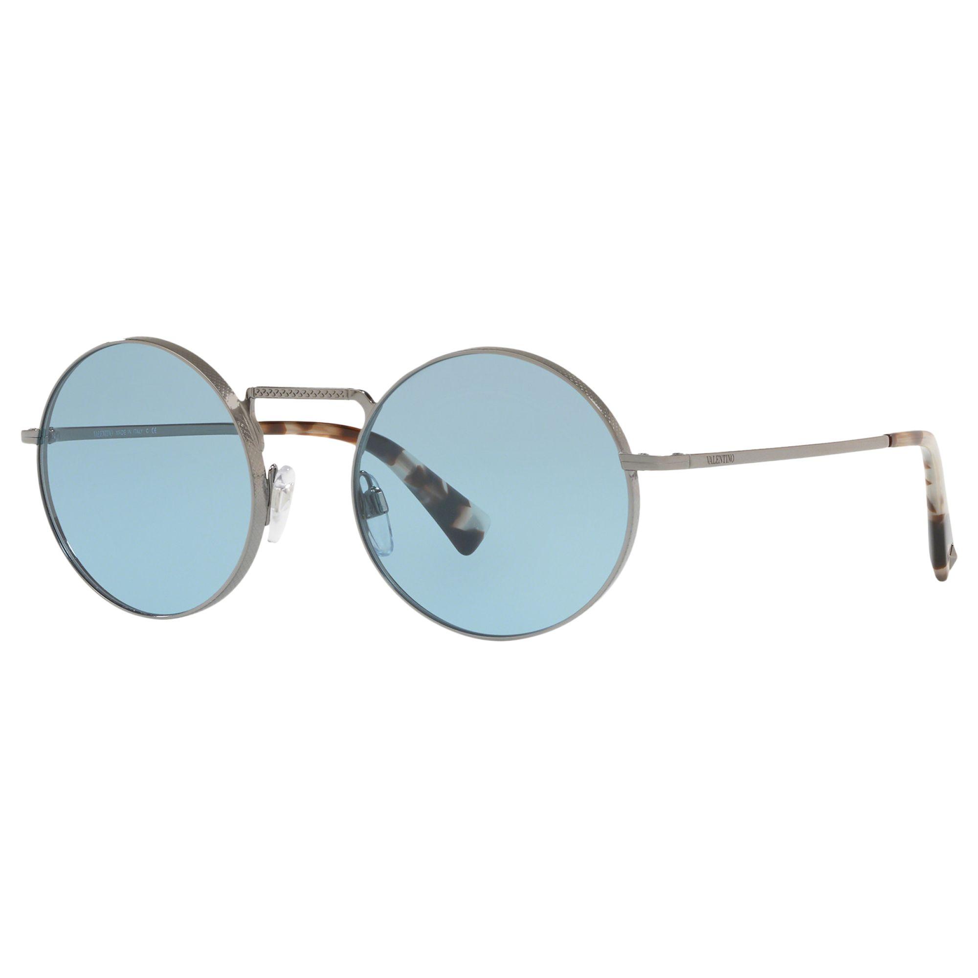 Valentino Valentino VA2024 Women's Round Sunglasses, Silver/Blue