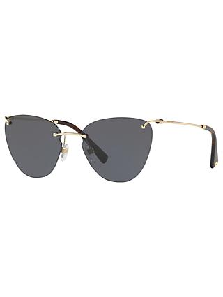 Valentino VA2022 Women's Cat's Eye Sunglasses, Gold/Grey