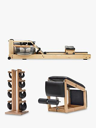 NOHrD by WaterRower Rowing Machine with S4 Performance Monitor, 3-in-1 Tria Trainer Bench & Swing Bell Weights Tower Set, Oak