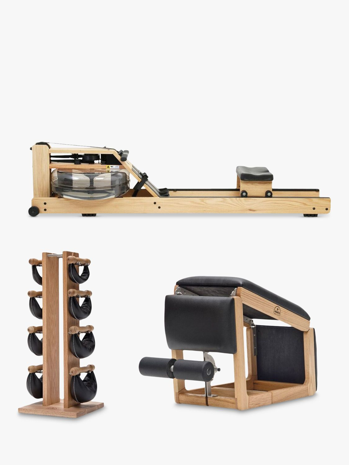 Buy NOHrD by WaterRower Rowing Machine with S4 Performance Monitor, 3-in-1 Tria Trainer Bench & Swing Bell Weights Tower Set, Oak Online at johnlewis.com