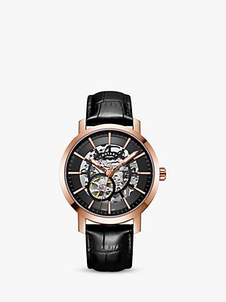 Rotary Men's Greenwich Skeleton Automatic Leather Strap Watch