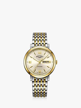 Rotary GB05301/09 Men's Windsor Day Date Bracelet Strap Watch, Silver/Gold