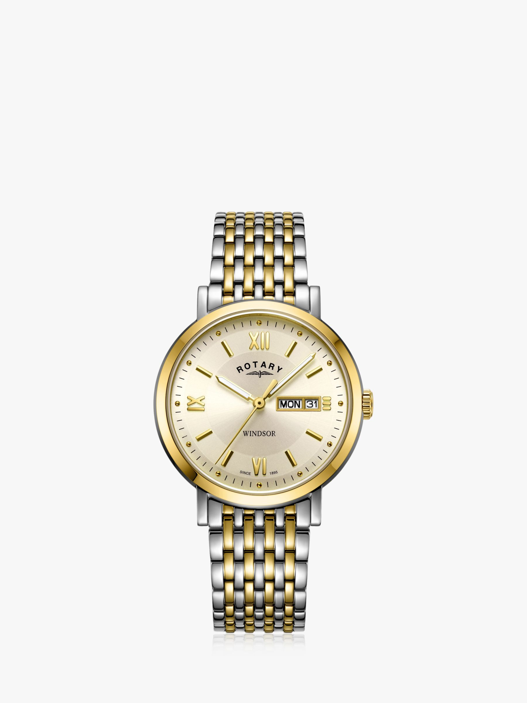 Rotary Rotary GB05301/09 Men's Windsor Day Date Bracelet Strap Watch, Silver/Gold