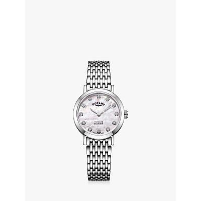 Rotary LB05300/07/D Women's Windsor Diamond Bracelet Strap Watch, Silver