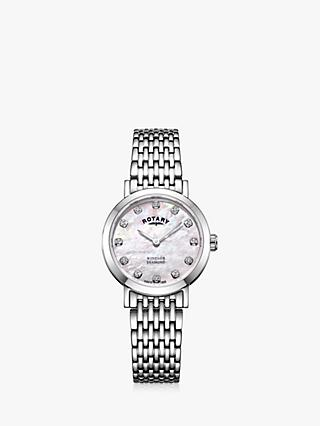Rotary LB05300/07/D Women's Windsor Diamond Bracelet Strap Watch, Silver