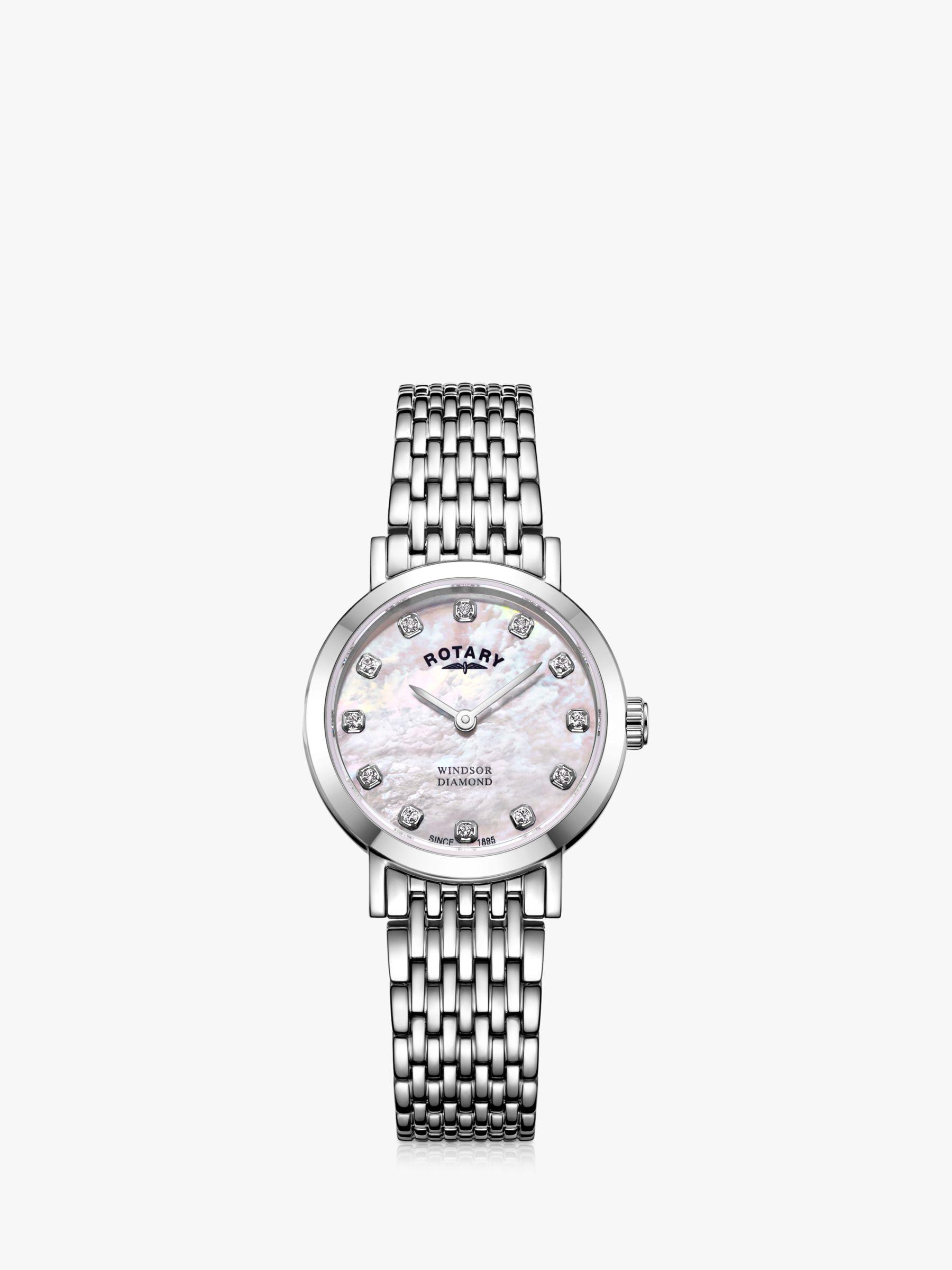Rotary Rotary LB05300/07/D Women's Windsor Diamond Bracelet Strap Watch, Silver