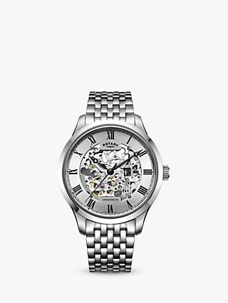Rotary GB02940/06 Men's Greenwich Skeleton Bracelet Strap Watch, Silver