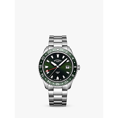 Image of Rotary GB05108/24 Men's Henley Bracelet Strap Strap Watch, Silver/Green