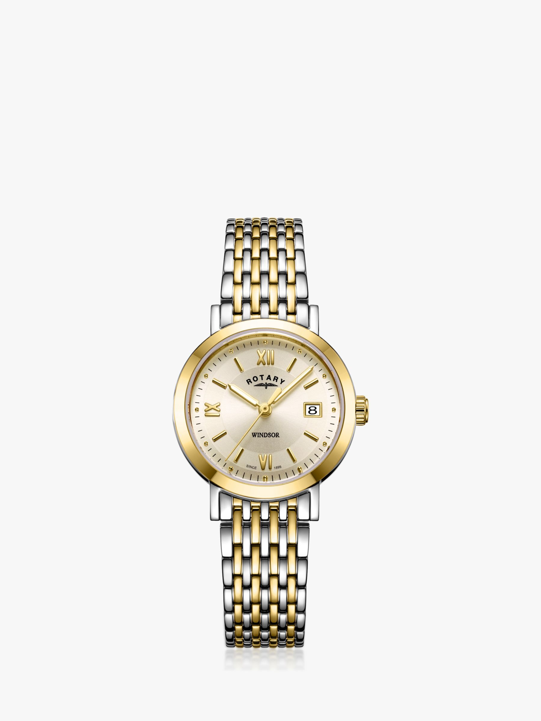 Rotary Rotary LB05301/09 Women's Windsor Date Bracelet Strap Watch, Multi/Gold