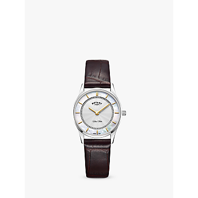 Rotary LS08300/02 Women's Ultra Slim Leather Strap Watch, Brown/White