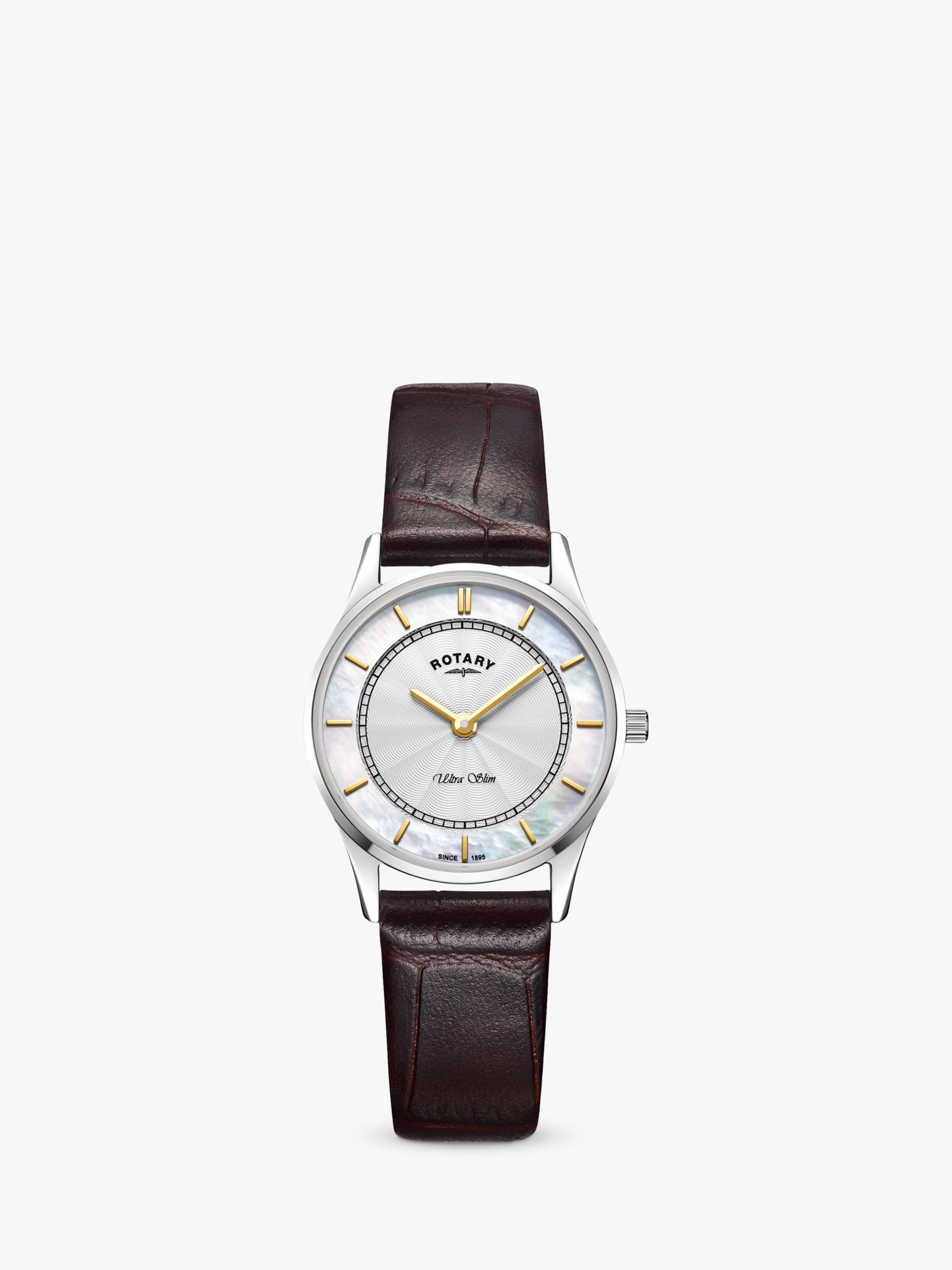 Rotary Rotary LS08300/02 Women's Ultra Slim Leather Strap Watch, Brown/White
