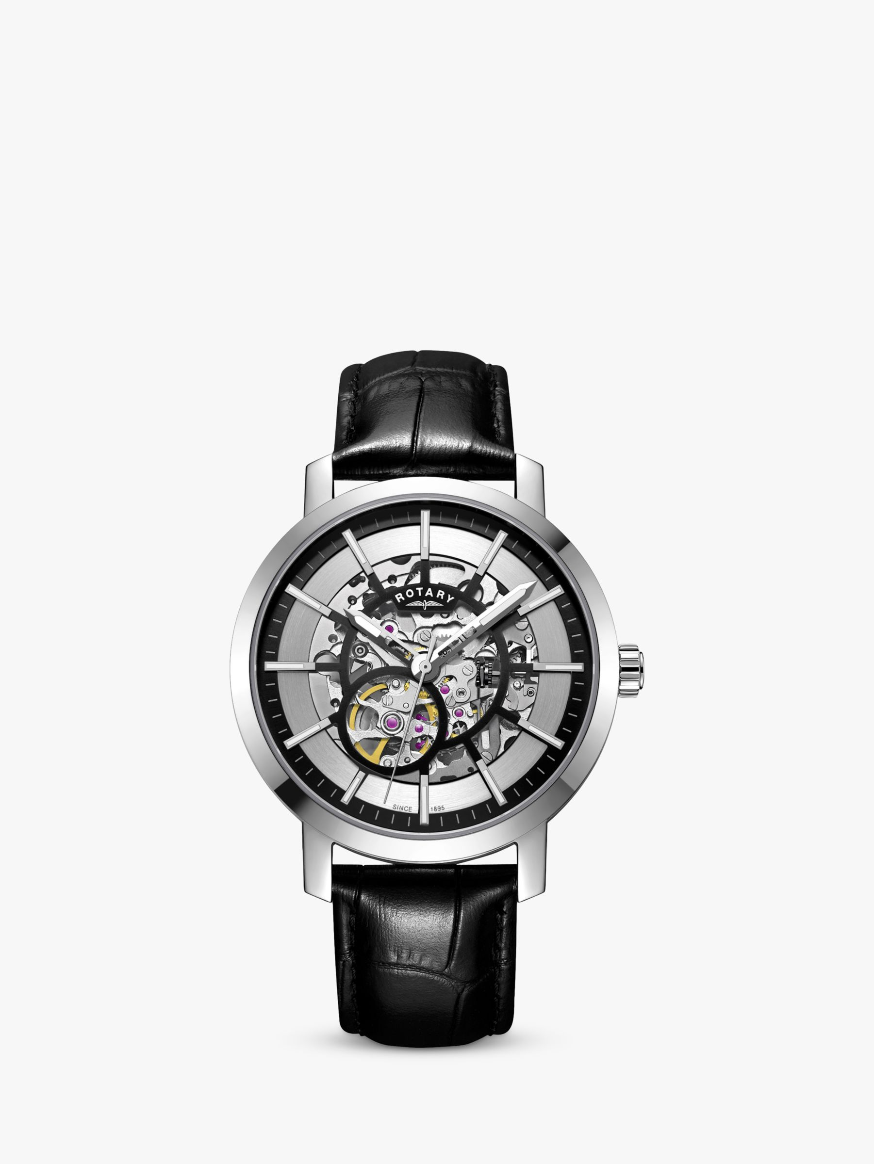 Rotary Rotary Men's Greenwich Skeleton Automatic Leather Strap Watch