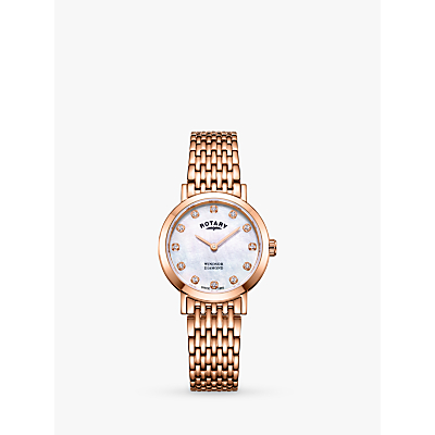 Image of Rotary LB05304/41/D Women's Windsor Diamond Date Bracelet Strap Watch, Rose Gold