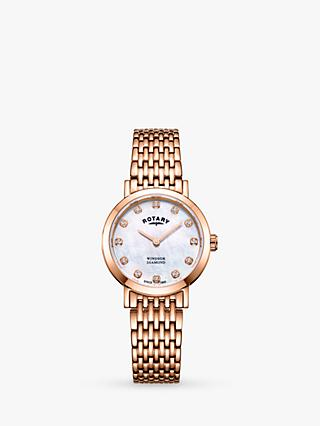 Rotary LB05304/41/D Women's Windsor Diamond Date Bracelet Strap Watch, Rose Gold