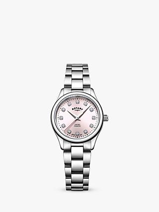 Rotary LB05092/07/D Women's Oxford Diamond Bracelet Strap Watch, Silver