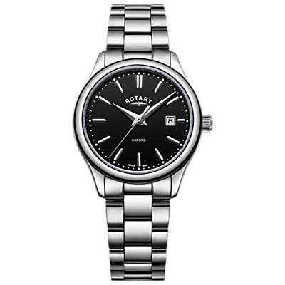 Rotary LB05092/04 Women's Oxford Date Bracelet Strap Watch, Silver/Black