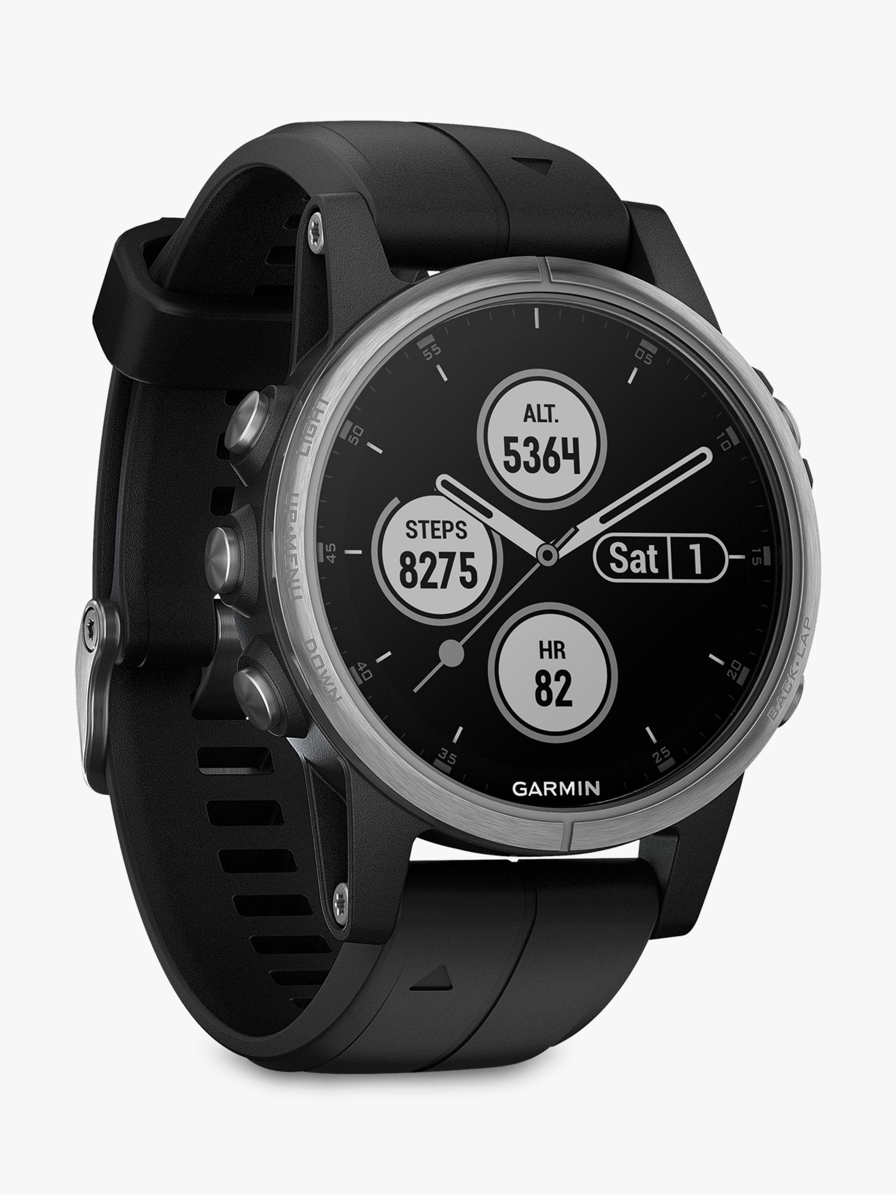 Garmin Garmin fēnix 5S Plus GPS Multisport Watch, Silver with Black Band, 4.2cm
