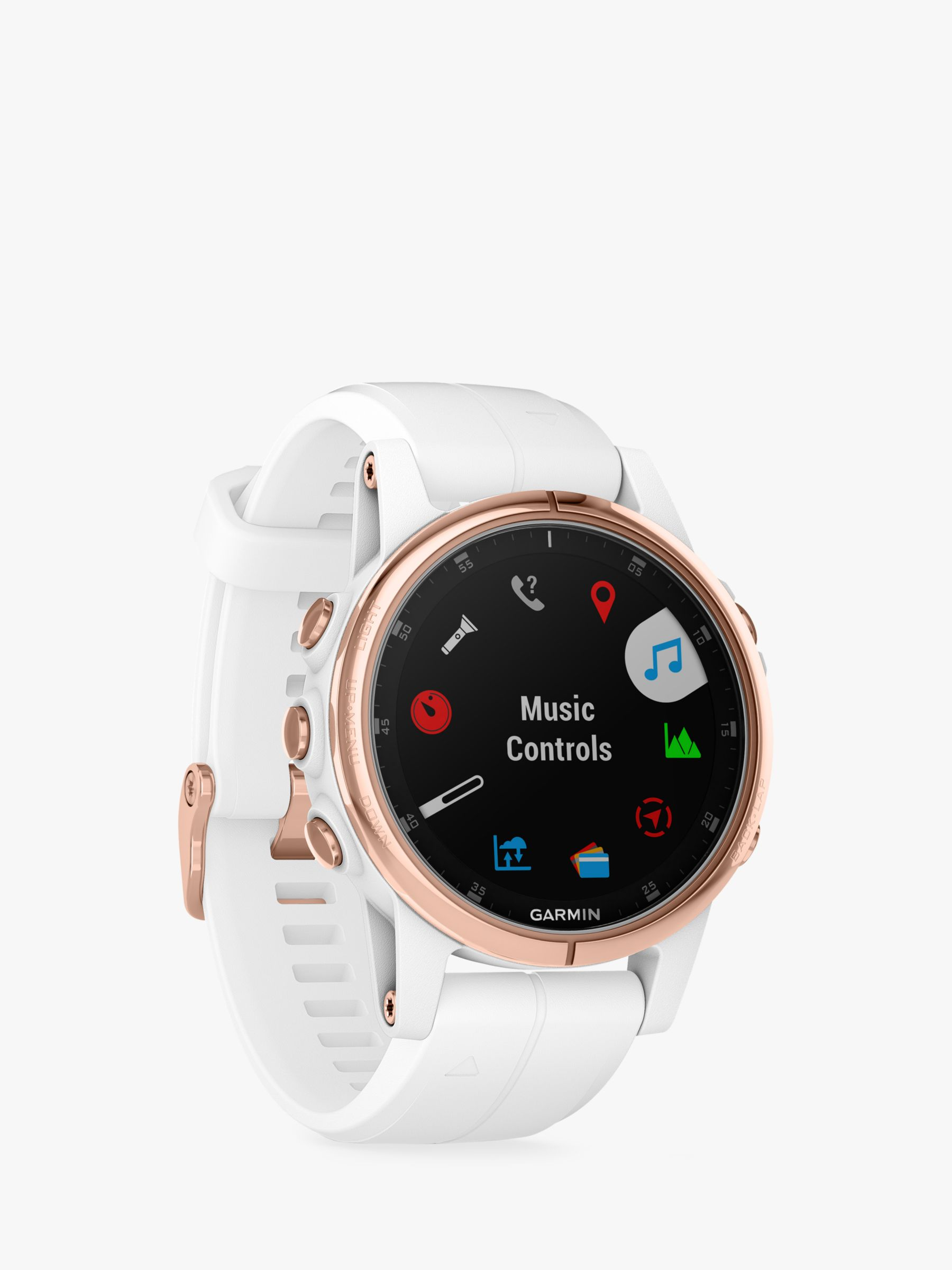 Garmin fēnix 5S Plus Sapphire GPS Multisport Watch, Rose Gold with White /  Rose Gold Band, 4 2cm