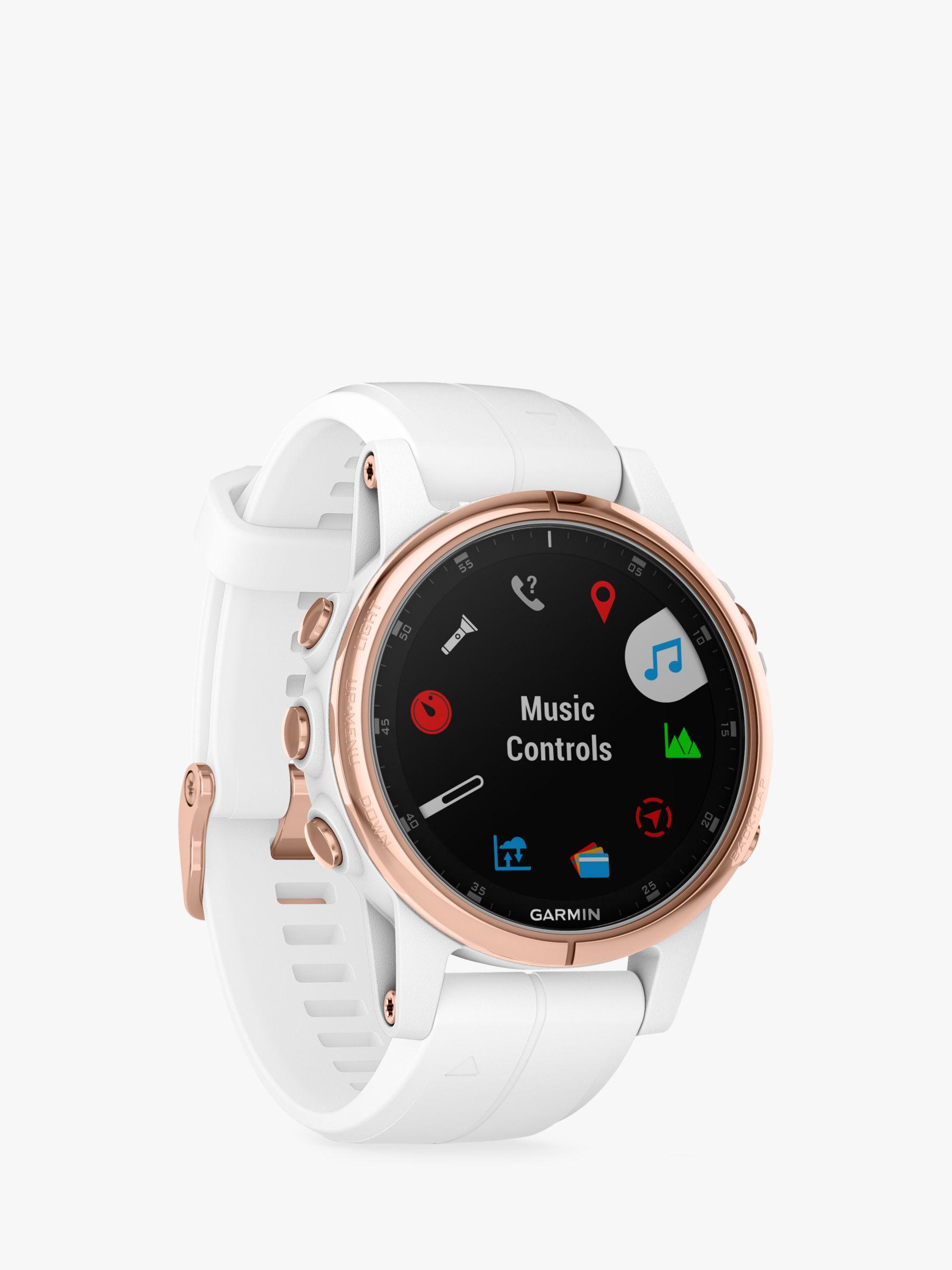 Garmin Garmin fēnix 5S Plus Sapphire GPS Multisport Watch, Rose Gold with White / Rose Gold Band, 4.2cm