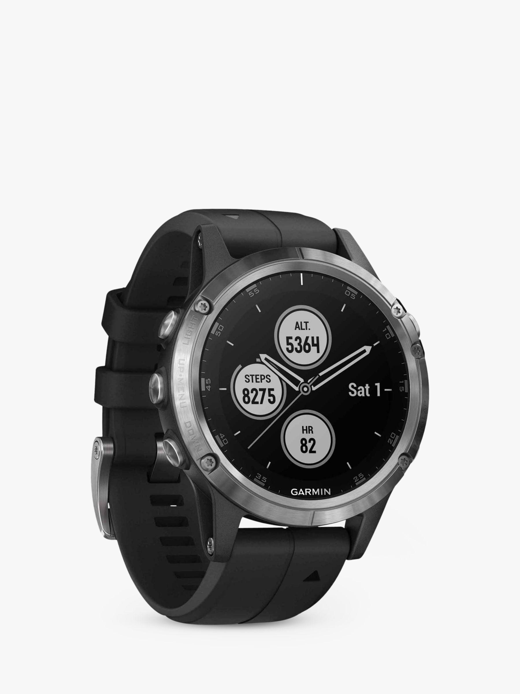 Garmin Garmin fēnix 5 Plus GPS Multisport Watch, Silver with Black Band, 4.7cm