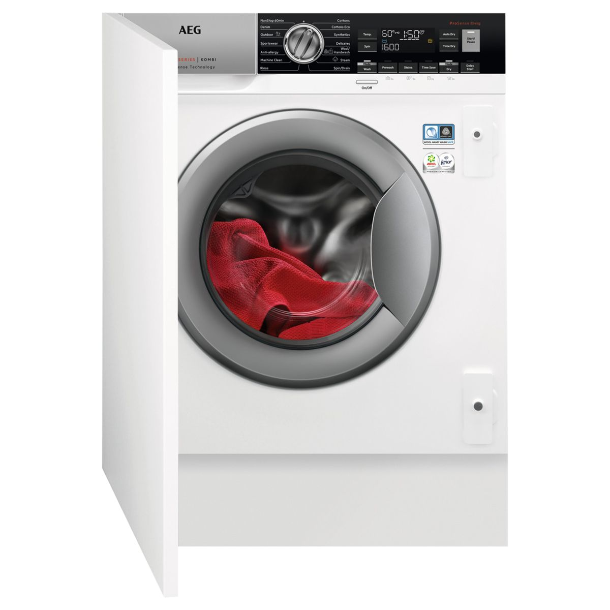 AEG AEG L7WC8632BI Integrated Washer Dryer, 8kg Wash/4kg Dry Load, A Energy Rating, White