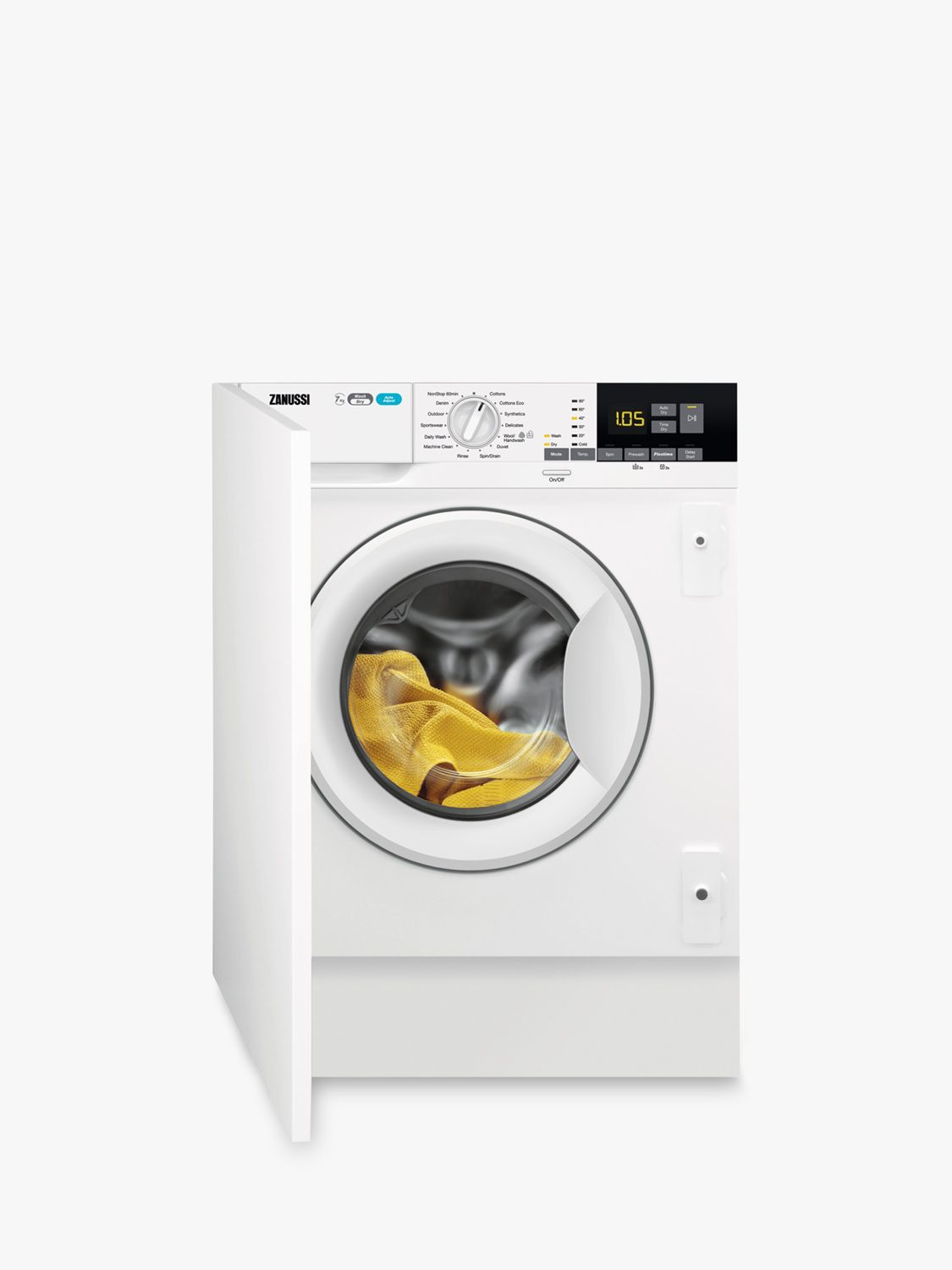 Zanussi Zanussi Z716WT83BI Integrated Washer Dryer, 7kg Wash/4kg Dry Load, A Energy Rating, 1600rpm Spin, White