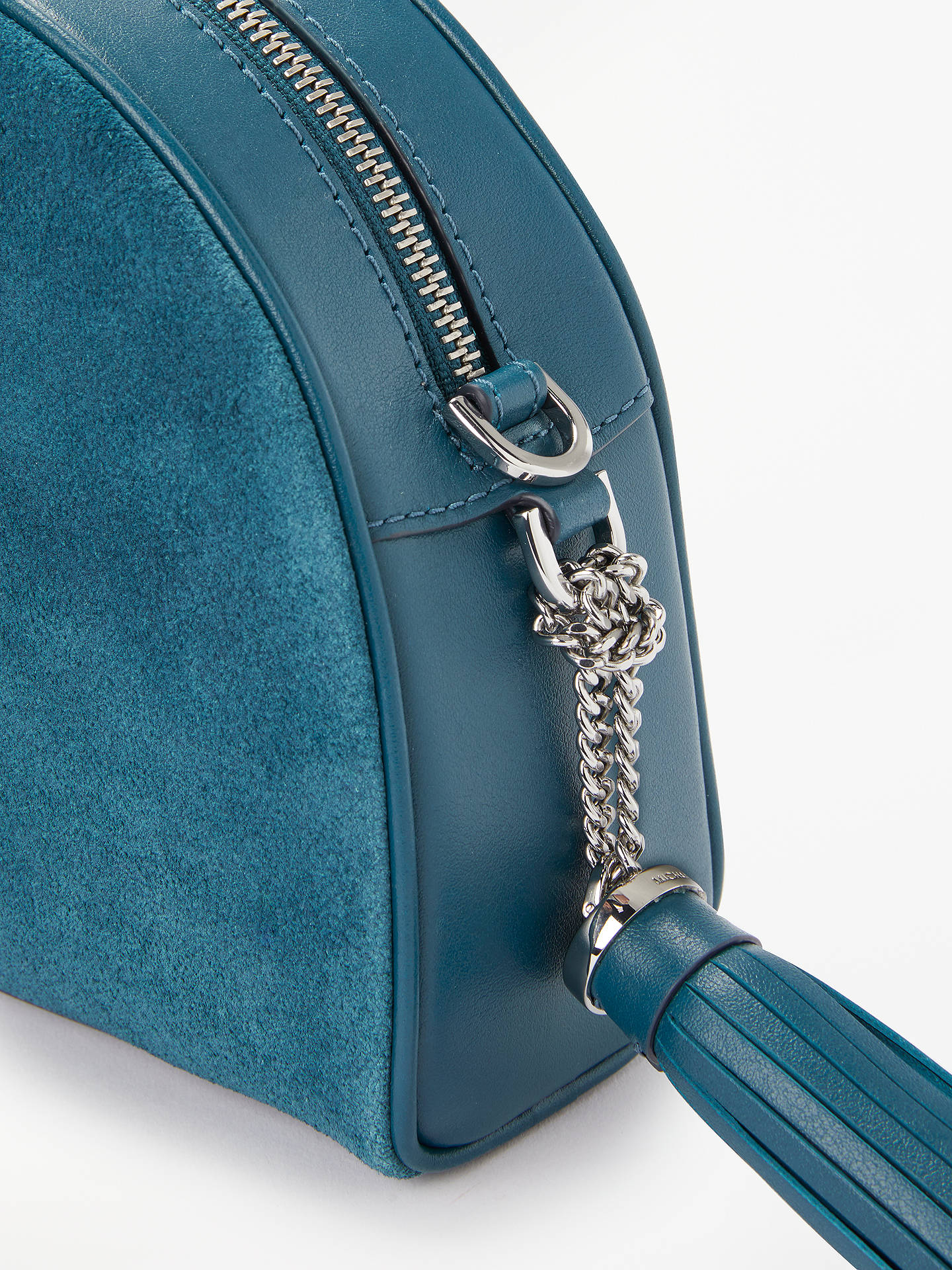 BuyMICHAEL Michael Kors Medium Half Moon Leather Cross Body Bag, Teal Online at johnlewis.com