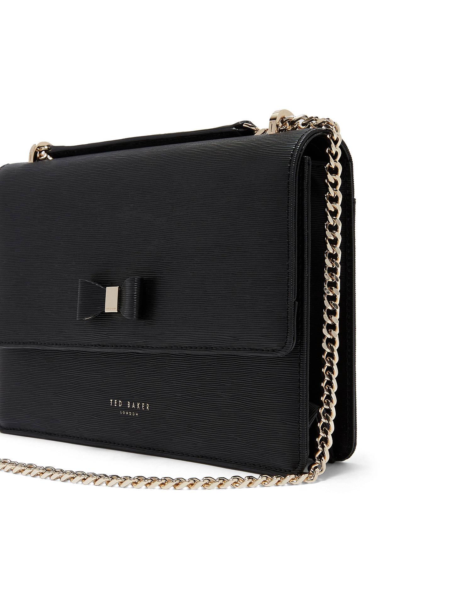 a1d4525bd128 ... Buy Ted Baker Delila Bow Leather Cross Body Bag, Black Online at  johnlewis.com