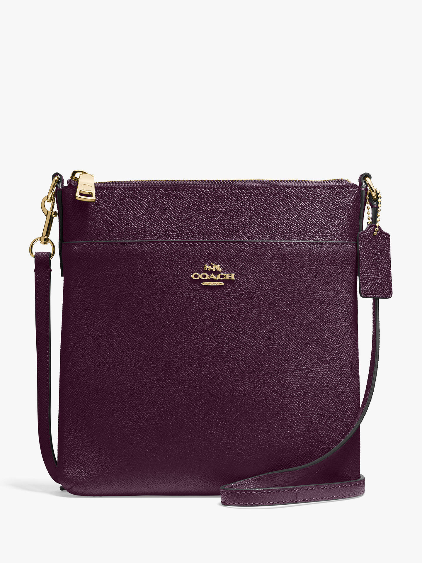 a3c6f420a39e4 Buy Coach Messenger Leather Cross Body Bag, Oxblood Online at johnlewis.com  ...