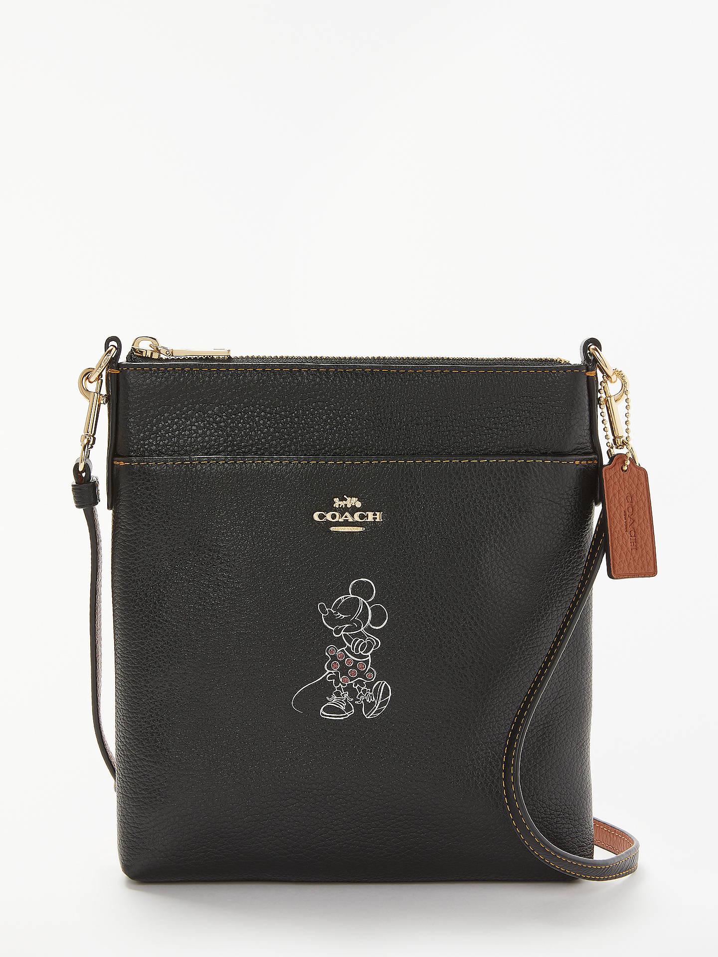 f49448344 Buy Disney x Coach Minnie Leather Messenger Cross Body Bag, Black Online at  johnlewis.