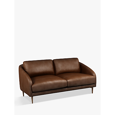 John Lewis & Partners Cape Medium 2 Seater Leather Sofa, Dark Leg