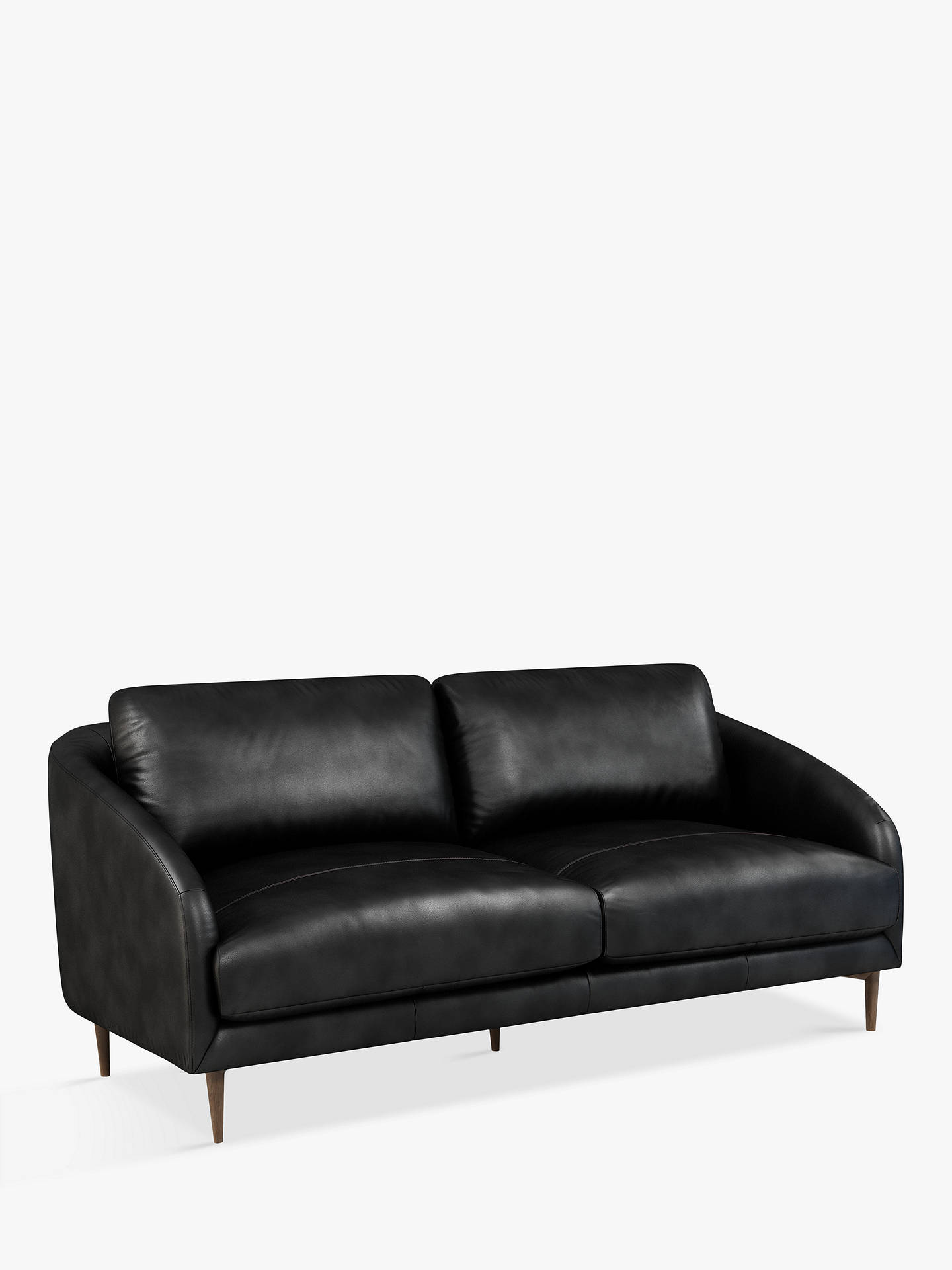 John Lewis & Partners Cape Large 3 Seater Leather Sofa, Dark Leg, Contempo  Black